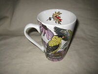 "Cornell Ornithology Lab 4 3/4"" Tall Mug Goldfinch & Blue Jay by Brenda Lyons"