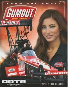 "2014 Leah Pritchett signed Gumout ""2nd Version"" Top Fuel NHRA postcard"