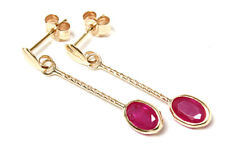 9ct Gold Ruby Oval long drop earrings Gift Boxed Made in UK Christmas Xmas Gift