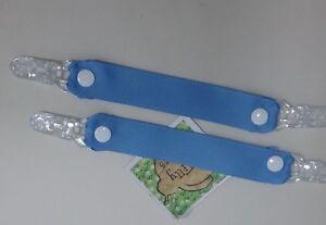 Pair MITTEN CLIPS glove savers plain BLUE grosgrain ribbon