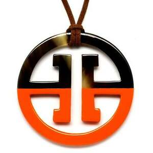 Horn Büffelhorn Anhänger Kette Hornanhänger Lack orange braun Design NEU