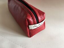 Leather Pencil Case,Leather makeup Bag,Gadget case, Genuine red leather