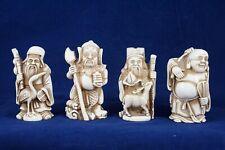 """4 Vtg Asian Shichi-fuku-jin """"Seven Gods of Luck"""" Figurine Sculpture Ivory Color"""