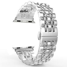 Metal Stainless Steel Buckle Band w/Connectors for Apple Watch iWatch US SHIP