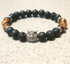 8mm Natural Volcanic rocks Owl yellow Bracelet yoga Mala meditation men women