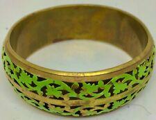 Bangle Bracelet Vintage Japanese Asian Green w Gold Leaf Oriental Wide Style