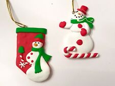 S/2 Snowman Polymer Clay Xmas Tree Ornament Peppermint Candy Cane Tree Hat Star
