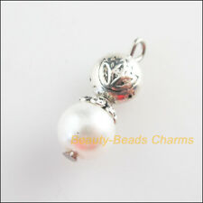5 New Lotus Charms White Glass Round Beads Pendants Tibetan Silver Tone 8x21mm