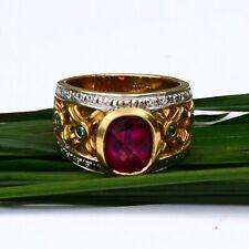 18k Michael Valitutti Y&W Gold Amethyst Grn/White Diamond Ring Sz 9.25