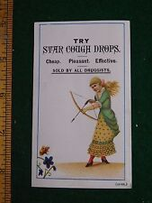 1870s-80s Star Cough Drops Kenyon Potter Co Girl w/ Bow Victorian Trade Card F33