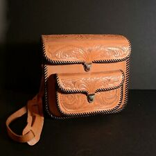 Vintage Hand Made Tooled Leather Camera Case + Strap Whip Stitched Boho Bag