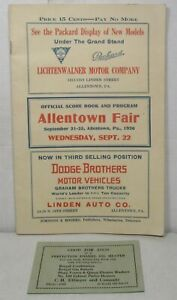 1926 Allentown Fair Pennsylvania score book & program (horse racing, vaudeville)