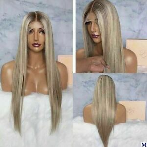 Luxury Lace Front Ash Blonde Ombre Full Lace Human Hair Wig Highlights Balayage