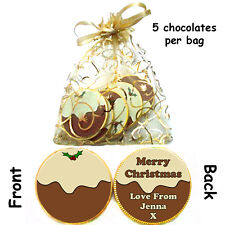 1 x bag of 5 Personalised CHRISTMAS PUDDING Belgian CHOCOLATE COINS Xmas gift