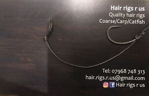 5 x Catfish Carp Rigs Size 2 Barbless With 100lb Black Braid  Long Hair Rig