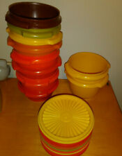 Lot of 10 Vintage TUPPERWARE Containers W/ Lids ( orange yellow)