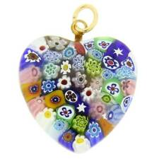 GlassOfVenice Murano Glass Millefiori Heart Pendant Medium - Multicolor