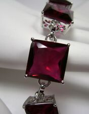 Square *Red Ruby* Sterling Silver Filigree Chain Link Bracelet {Made To Order}