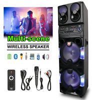 10'' Subwoofer Bluetooth Party Speaker LED Lights USB SD Input FM Radio Portable
