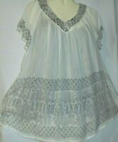 Womens Blouse Top White Black Long Boho Tunic Short Sleeves Free Size Fits XL 1X