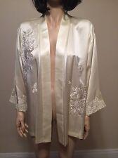 Josie Natori 100% Ivory Silk Lace Embroidery Loungewear Jacket Size L NWT $495