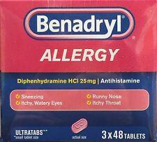 Benadryl Allergy Diphenhydramine HCI 25 mg, 3 X 48 ct ( total 144 ct )