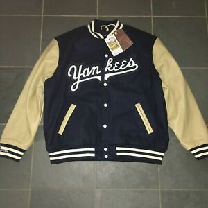 NWT Mitchell & Ness New York Yankees Wool Leather Jacket XL $600