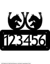 CUSTOM HORSES HORSESHOES HOUSE NUMBER STEEL TEXTURED BLACK POWDER COAT