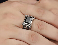 Men's Vintage Punk Cross Red Ruby Black Crystal Stainless Steel Silver Ring Band