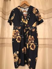 Navy With Mustard Floral Print Wrap Dress Size 20