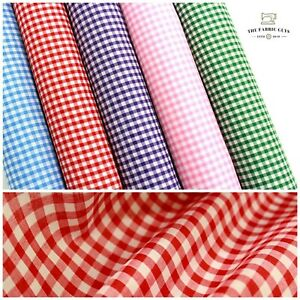 """Gingham Polycotton Fabric 1/4"""" Small Check Fabric 112cm 44"""" Wide, 24hr Dispatch"""