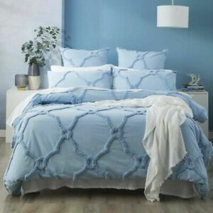 Renee Taylor Moroccan Cotton Chenille Tufted Quilt Cover Set-Sky