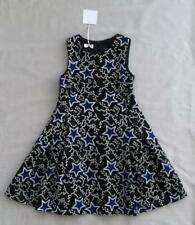 NWT PINKO UP GIRLS BLACK & BLUE EMBROIDERED STAR DRESS 7 - 8 yrs SZ XS RRP $250