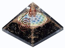 Tourmaline Flower of Life Stone Orgone Pyramid Reiki Healing Energy Crystal Gift