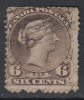 "Canada Scott #27 6 cent dark brown  ""Large Queen"""
