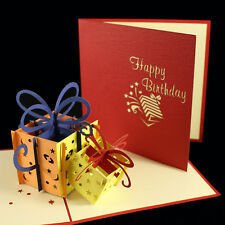 POP UP 3D birthday card - colourful birthday presents with bows