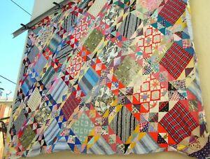 Vintage 30's 40's lattice quilt top feedsack fabrics Irish chain
