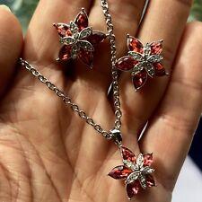 Cristalina Padparadscha Swarovski Crystal Flower Earrings & Pendant Set