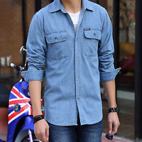 Classic Men's Long Sleeve Button Up Casual Blue Jeans Shirt Denim Dress New