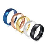 6mm Stainless Steel Band Rings Men/Women's Blue/Gold/Black/Silver/Rose Gold Ring
