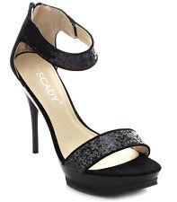 New Black Glitter Ankle strap HIGH HEEL Platform Peep toe open Sandal Size 9