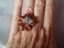 Red Onyx cocktail ring, size L/M, set into 8.6 grams of 925 Sterling Silver