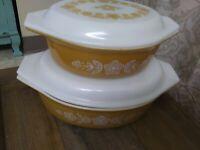 Vintage Pyrex Butterfly Gold 4 Pc. Casserole Set w/ Lids. 473, 475 EUC