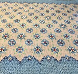 National Quilted Products Blue Quilt 73x66 Vintage