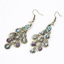 Vintage Bronze Blue Crystal Bird Animal PEACOCK Statement Jewellery Earrings