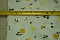 """By 1/2 Yd, 35"""", Vintage 1940's-60's, Gold & Black Floral on Textured White,M3733"""