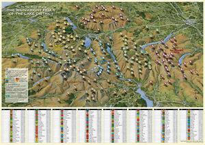LAKE DISTRICT FELLS MAP. FLAT MAP/POSTER - THE WAINWRIGHT FELLS. LAKE DISTRICT