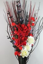 ARTIFICIAL LARGE SILK RED ROSES, CREAM FLOWER BOUQUET - FREE LED BATTERY LIGHTS