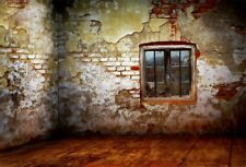 Old Brick Wall Window Vinyl Photography Backdrop Background Studio Props 6x4Ft