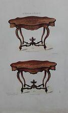 Table de salon LOUIS XV moulures GRAVURE originale le Magasin de Meubles XIXéme